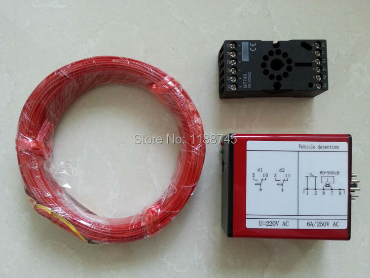 220V Loop Detector with 50M wire can operate barrier gate and control traffic light(China (Mainland))