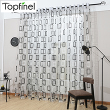 Top Finel Modern Plaid Tulle for Window Sheer Curtains Panel for Kitchen the Bedroom Living Room Curtain Fabric Window Treatment(China (Mainland))