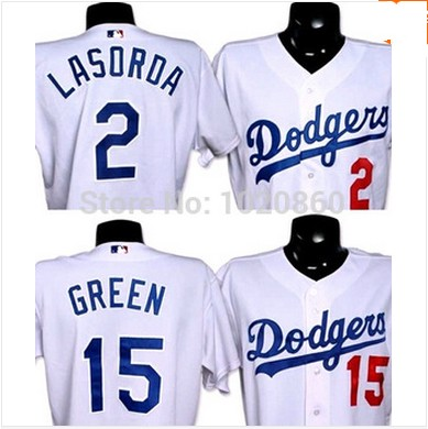 Los Angeles Dodgers 15 Shawn Green 2 Tommy Lasorda Dodgers Cool Base Jersey stitched Size:S-4XL