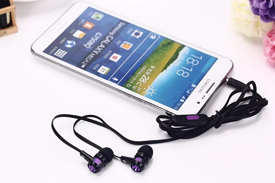 3.5mm Stereo Handsfree Headset Earphones Flat Wired Dual Earbuds Microphone For Samsung Galaxy Free Shipping