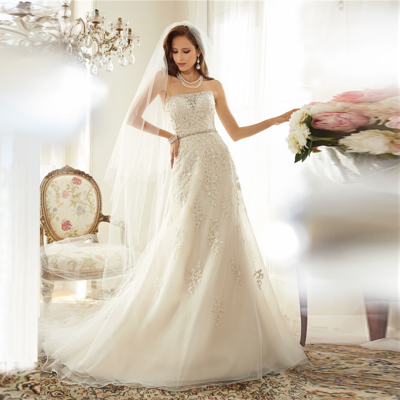 Cheap elegant lace a line wedding dress 2015 boat neck for Wedding dresses with sashes