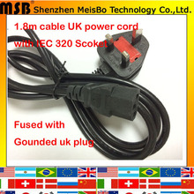 250V 13A 1.8M 180cm 0.75mm2 H03VV F3C IEC320 outlet Computer Printer Monitor 3 prong Cable lead adapter FUSE UK AC power cord(China (Mainland))