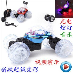Remote control dump truck ultralarge charge toy car flash music stunt car remote control rolling car(China (Mainland))