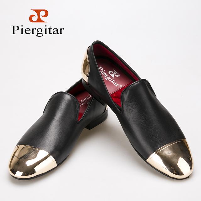 Piergitar 2016 Новый стиль ручной черный натуральная кожа мужчины туфли с передней ...