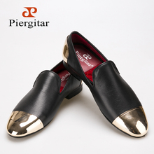 Piergitar 2016 new style Handmade Black Genuine Leather men shoes with front and back gold metal Fashion men slip-on loafers (China (Mainland))
