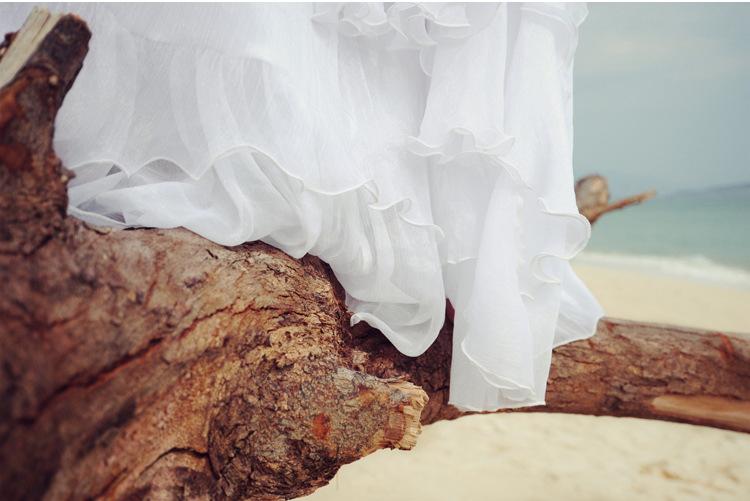 แฟชั่น2017สูงQaulityฤดูร้อนอัลตร้ายาวแต่งกายสตรีR UfflesแขนกุดชุดชีฟองวันหยุดMaxiโบฮีเมียนชายหาดแต่งตัว ถูก