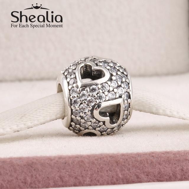 Аутентичные 925 чистое серебро вымощает игристое циркон полые в форме сердца подвески-талисманы для женщины подходит браслет SH0590