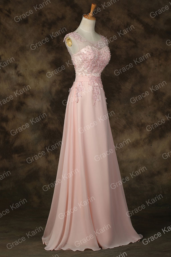 Elegant Avondjurk Grace Karin Long A-line Vestido Chiffon Sleeveless ...