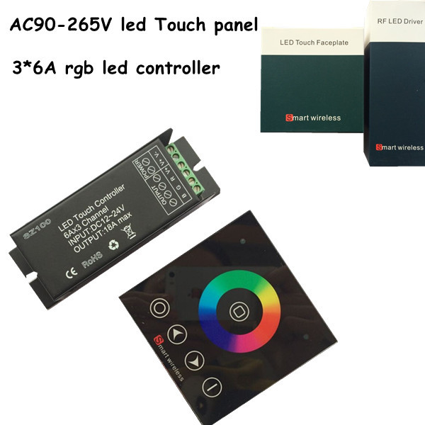 1pcs ac 220v wall mounted rgb touch panel remote+ 3 channel 18a rf wireless dc12/24V led controller for led strip light(China (Mainland))