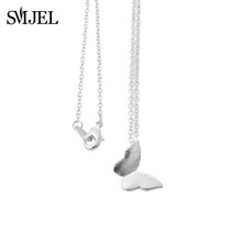 SMJEL נירוסטה פרפר שרשראות לנשים חמוד בעלי החיים תליוני קולר בנות ילדים תכשיטים מתנה boucle oreille(China)
