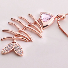 2016 Fashion Pendants Necklaces For Women Jewelry Fish Bone Charm Pendant Necklace Chain For Women PE86(China (Mainland))