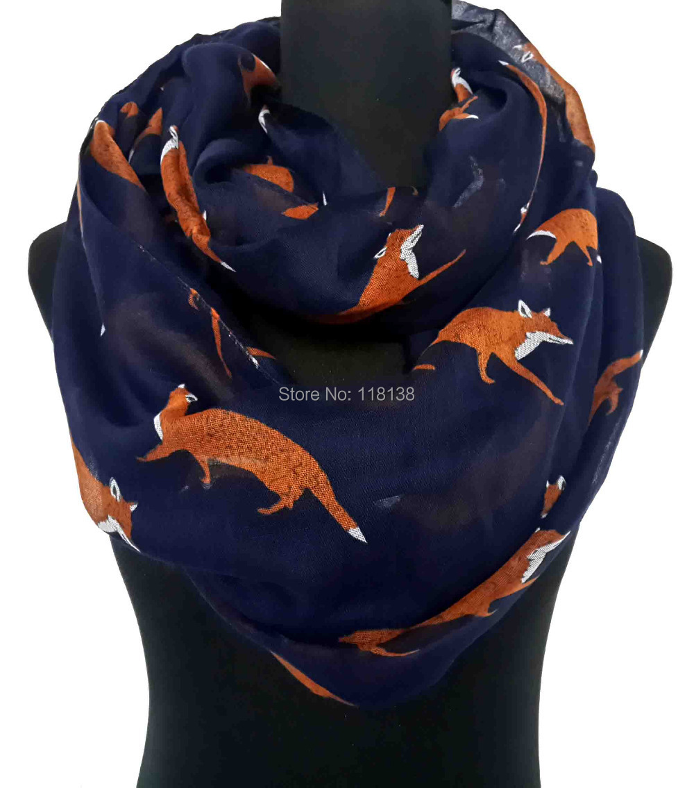 Fox Print Infinity Loop Scarf Women's Accessories Animal Scarves, Free Shipping(China (Mainland))