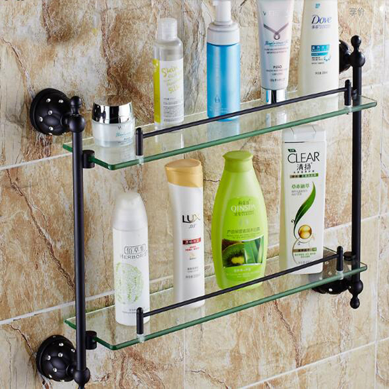 Wholesale And Retail Dual Glass Tiers Wall Mounted Oil Rubbed Bronze Crystal Cosmetic Shampoo Body Wash Shelves Bath shelf(China (Mainland))