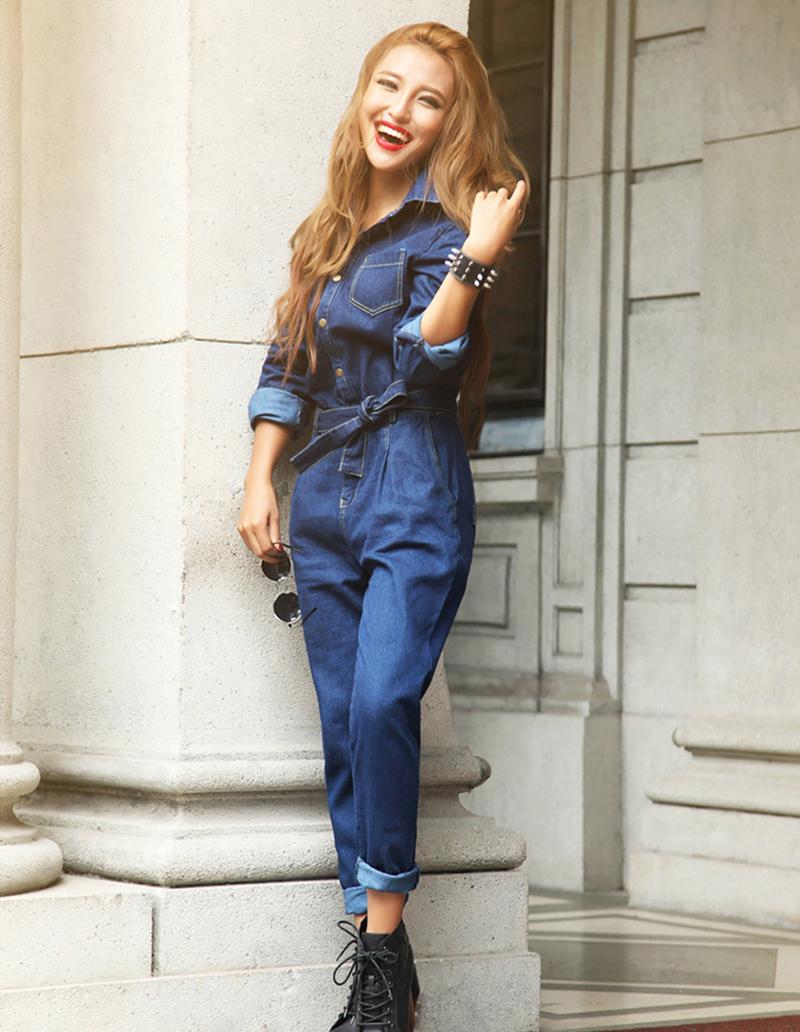 2016 Spring New Style Women Blue Jeans Denim Jumpsuit Siamese Trousers 90% Cotton Slim Fashion Female Suits Blouse Set(China (Mainland))