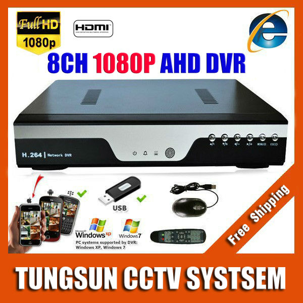 Super 8CH AHD DVR AHD-H HD 1080P Video Recorder H.264 CCTV Camera Onvif Network 8 Channel IP NVR Multilanguage With Alarm(China (Mainland))