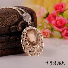 Fashion New Rose Gold plated crystal Rhinestone Sweater chain pendant Necklace(China (Mainland))