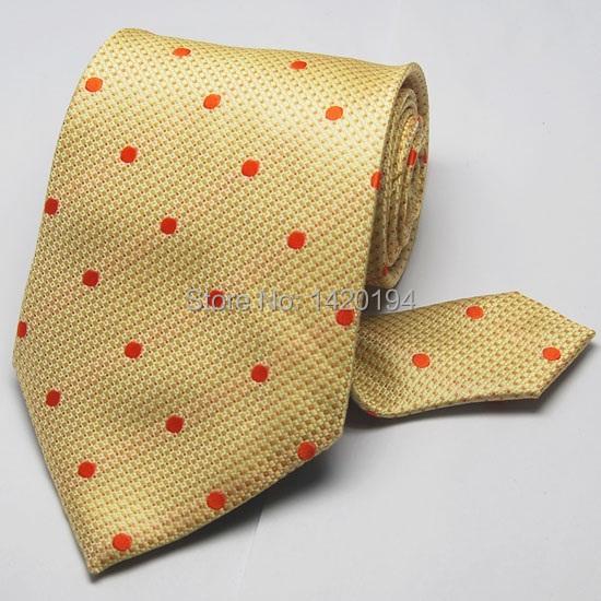 New Classic Red Dot Golden Jacquard Woven Men's 100% Silk Tie Necktie #040(China (Mainland))