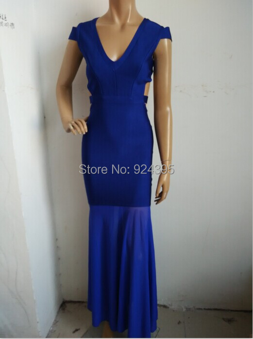 2015 New Fashion red blue black v neck cut out long maxi Sleeveless knitted bandage dresses Prom bodycon hl Dress wholesale(China (Mainland))