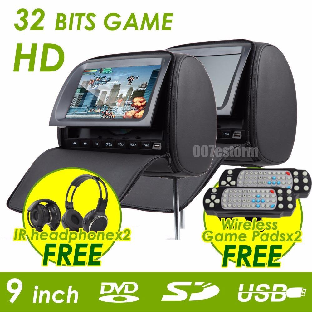 free shipping 2X9 inch headrest car dvd with digital panel and with zipper +IR wirelss headphone 32bit game+IR+USB+SD+FM(China (Mainland))