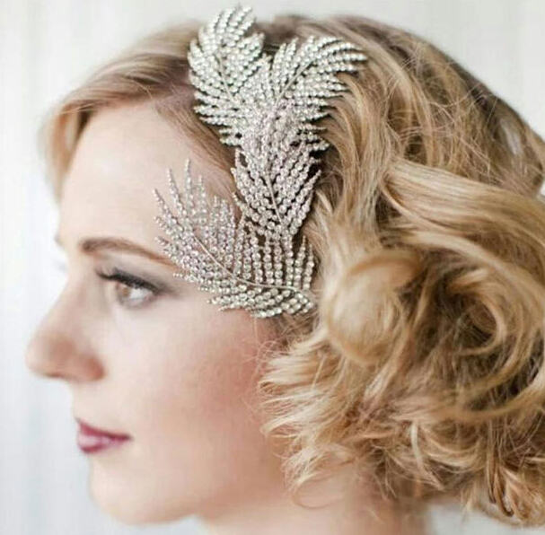 New Fashion Wedding Jewelry Full of Austrian Crystal Feather Hair Comb Bridal Headpiece Accessories For Bridesmaid F1602(China (Mainland))