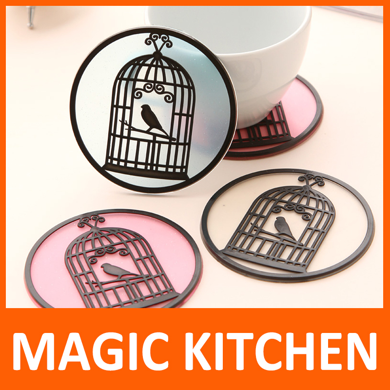 Magic Kitchen Cup Mat Table Decoration Fashion heat pad anti-slip anti-fouling silicone placemat with Lovely bird cage(China (Mainland))