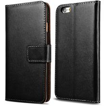 6S 6S Plus Genuine Leather Wallet Case For iPhone 6 6S 4.7 Inch Phone Bag Cover For iPhone 6S Plus 5.5 2 Size Stand Card Slot(China (Mainland))
