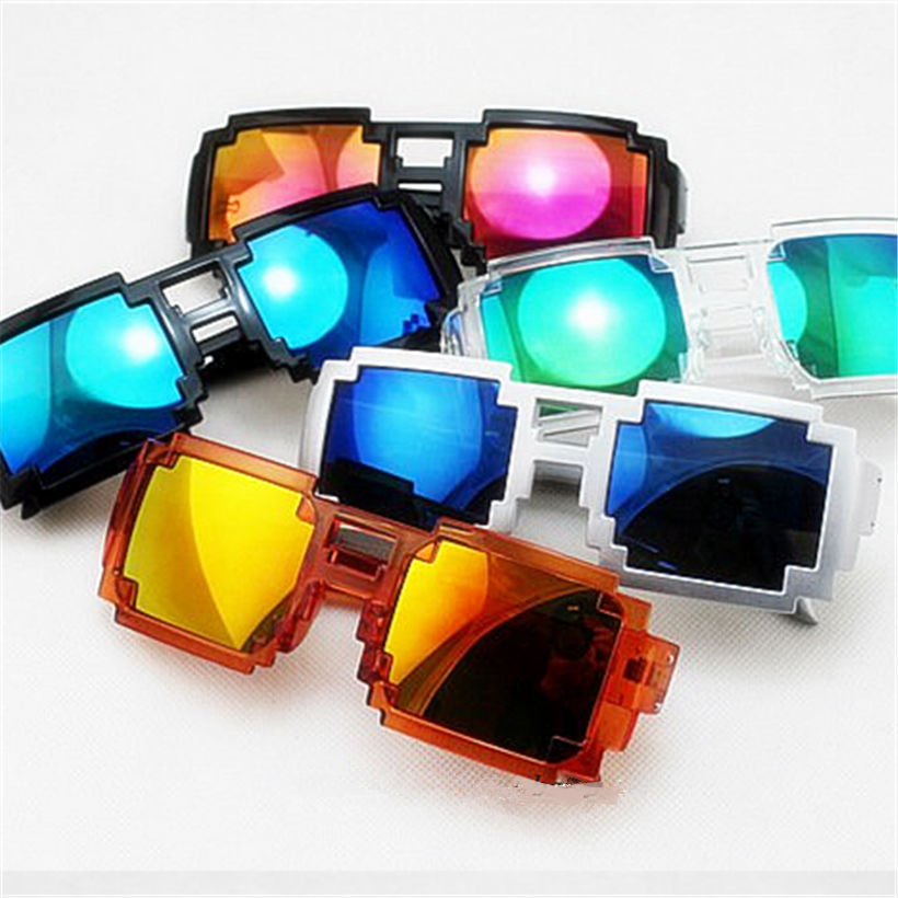 Deal With It Male Female Vintage Goggle Brand Designer Men Women's Pixel Mosaic Sun Glasses Famous Sunglasses Women(China (Mainland))