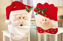 Non-woven fabric Chair Cover Ornaments Red 3D Santa Claus For Christmas Table Decoration Dinner Party For Xmas Free Shipping(China (Mainland))