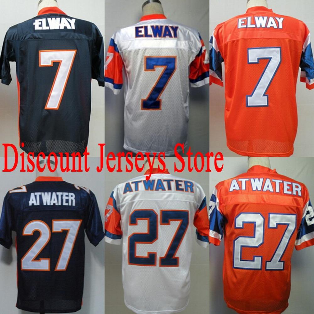 Free Shipping throwback Football Jersey Denver #7 John Elway jersey #27 Steve Atwater jersey Stitched logo Size M-3XL(China (Mainland))