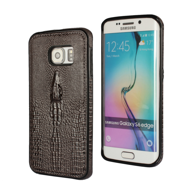 S6 edge Luxury PU Leather Case For Samsung galaxy S6 edge Bumper Crocodile Pattern Back Capa Cover For Samsung S6 edge(China (Mainland))