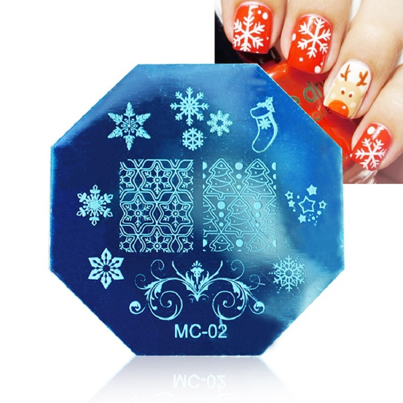 Christmas snowflake Art Plate Stamp Stamping Set Round Stainless Steel DIY Nail Polish Print Manicure Nail Stencil Template(China (Mainland))
