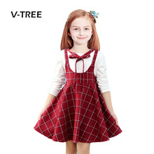 Buy V-TREE girls dress clothes plaid girls school uniform dress for teenagers 10 12 years girl dress kids party dress spring for $11.81 in AliExpress store