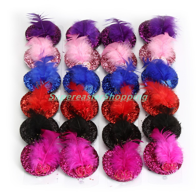 24pcs/Lot Women Glitter Headwear Paillette Feather Rose Hair Clip Stage Show Performing Hat Clip Mini Cute Stylish Fascinator(China (Mainland))