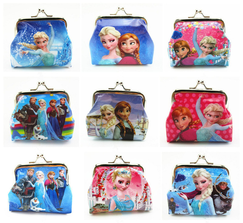 1 Piece Coin Purses Elsa Anna Olaf Square Hasp PVC Coin Purse Girls Snow Queen elsa