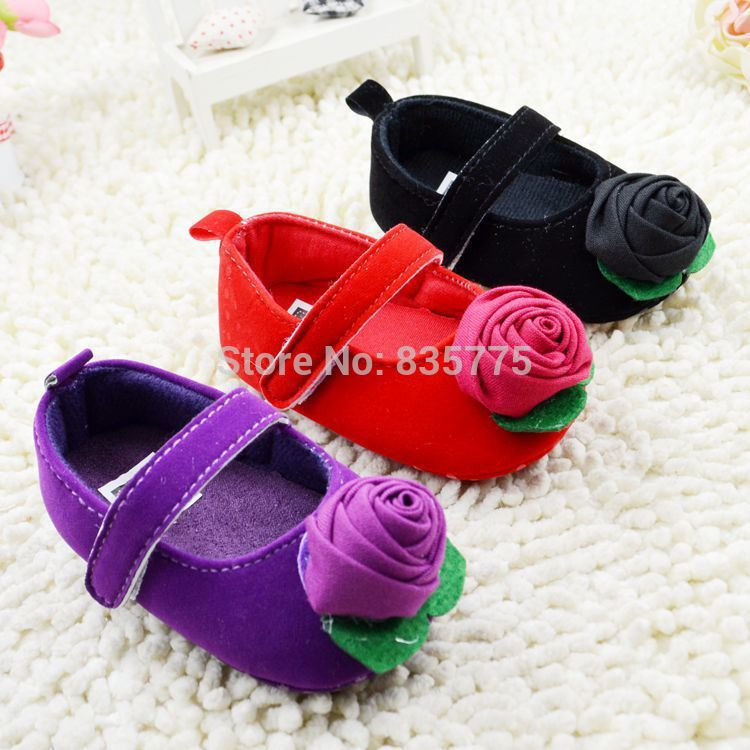 New Sweet Infant Toddler Newborn Baby Kids Prewalkers Shoes Princess Girls Mary Janes Anti-slip Big Flower Shoes 3Colors 3Sizes(China (Mainland))