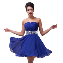 Cheap robe de cocktail 2016 red blue short cocktail dresses Real picture elegant Strapless special occasion dress party gowns(China (Mainland))
