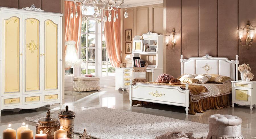 estilo barroco cama queen niuntildeos dormitorio sistema del cabrito de madera maciza muebles decorativos