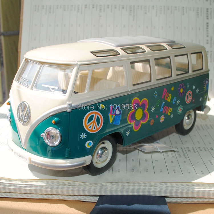 Free Shipping 2015 Newest 1/24 Scale Car Model Toys Classic Volkswagen Peace Love Bus Diecast Metal Car Model Toy For Kids/Gift(China (Mainland))