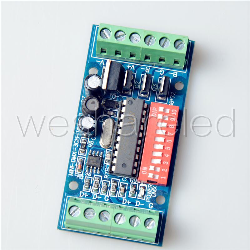 3CH Easy dmx Controller,subminiature controller,RGB LED dmx512 decoder,DC5V-24V,for LED strip light,LED RGB dump node,LED module(China (Mainland))