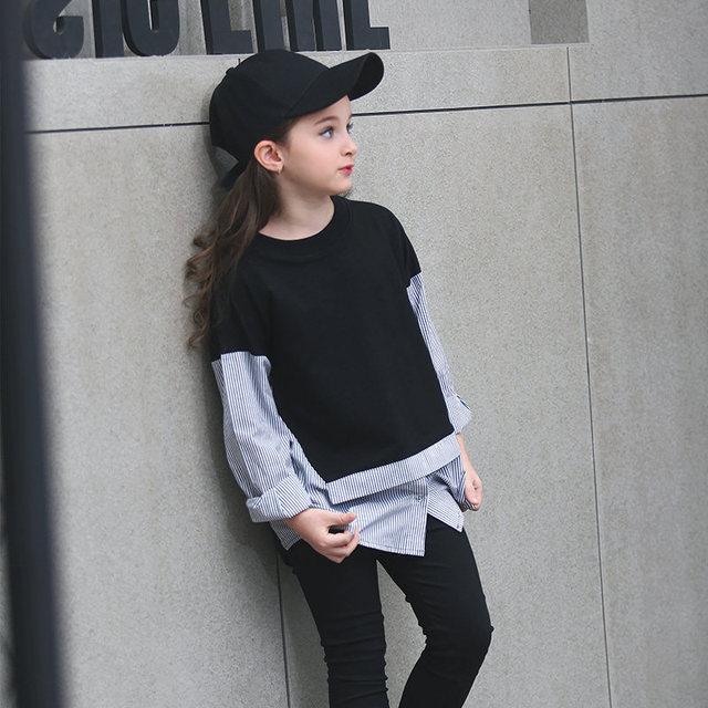 2016 Осень Девочек-Подростков Толстовки Черный Белый Лоскутная Спорт Дизайн Мода одежда Топы для Age56789 10 11 12 13 14 Т Пятилетних детей