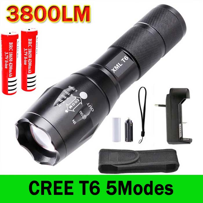 E17 XM-L T6 LED Flashlight 3800 Lumens Zoomable Torch light +2 * 4200mah 18650 Rechargeable Battery + charger + holster(China (Mainland))