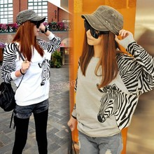 Fashion Women Spring Autumn Casual Loose Pullover Zebra Print Long Sleeve Sweater Shirt(China (Mainland))