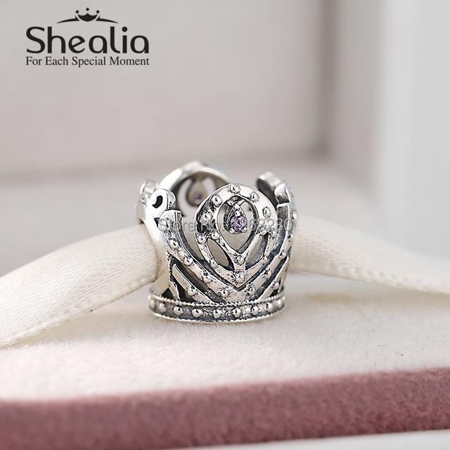 Весна 2015 новый стерлингового серебра 925 анна принцесса корона подвески с фиолетовым cz для женщин известных браслеты diy изготовления ювелирных изделий