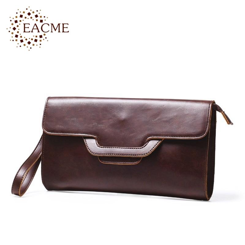 Fashionista Brown Leather Envelope Bags Small Handbag Men's Briefcases Day Clutch Women Purse Wristlet Messenger Shoulder Bag(China (Mainland))