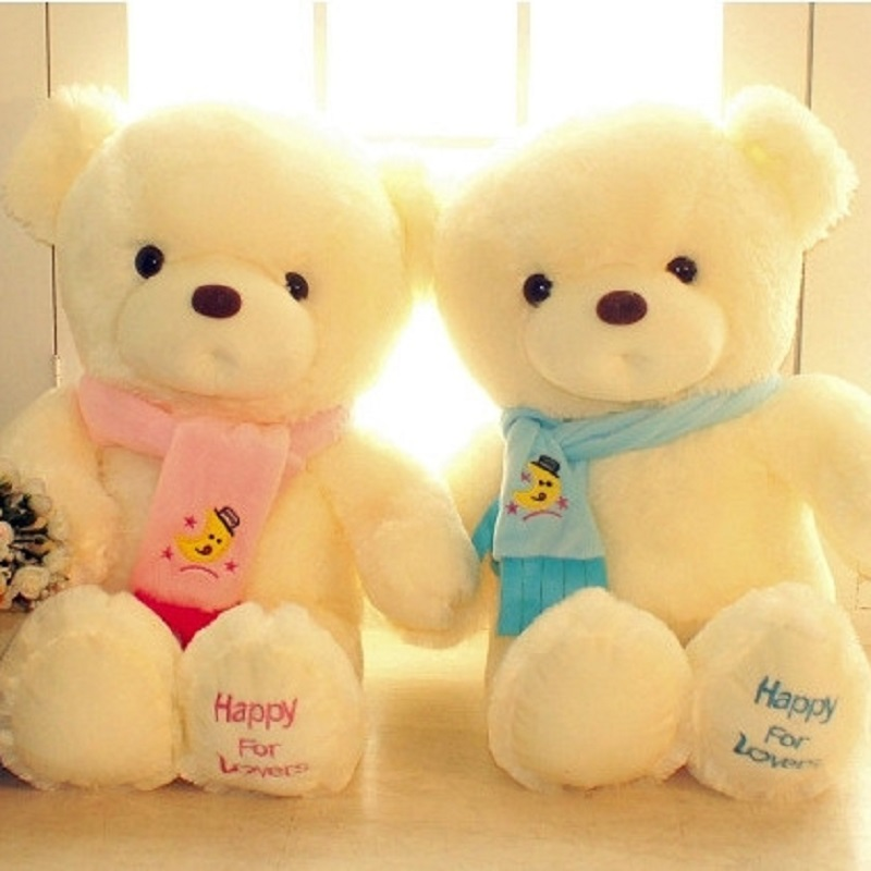 30CM White Plush Teddy Bear Wearing Colorful Scarf Valentine's Day Gifts Cartoon Animal Presents For Girls #ML0180(China (Mainland))