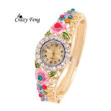 Free Shipping newest Crazy Feng hot Charm jewelry Women Wristwatch 18K Gold Plated Bangle Cuff quartz watch relogio feminino