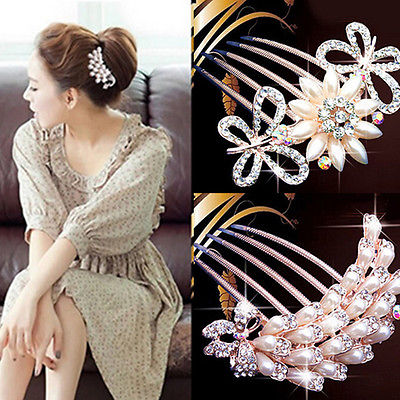 2016 Fashion Wedding Crystal Rhinestone Hair Combs Flower Bridal Hairpin Clip Luxury Jewelry Hair Accessories(China (Mainland))