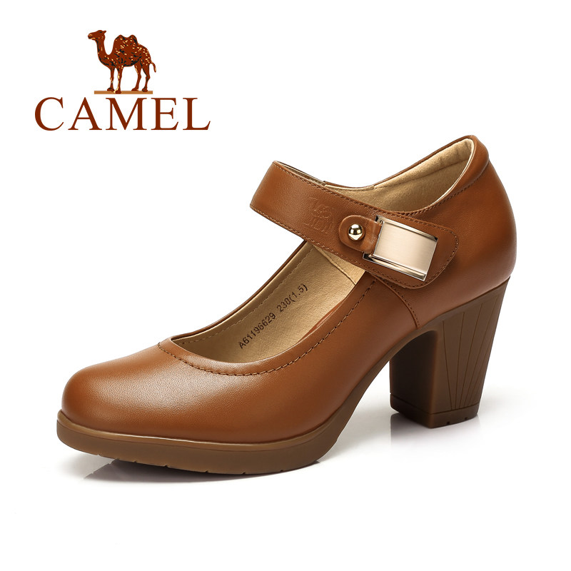 camel s pumps cow leather janes high heel shoes