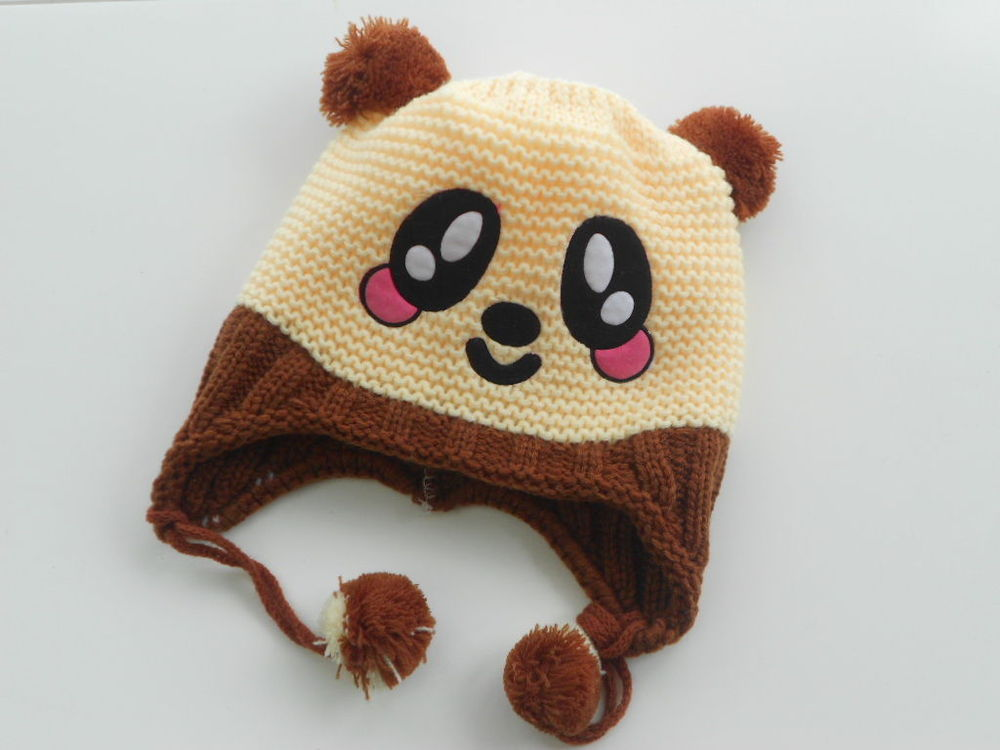 Cartoon cute knited winter warm baby hats Infant Toddler Handmade Crochet Baby Hat Lovely Panda hat Cap ear flap Animal 082(China (Mainland))