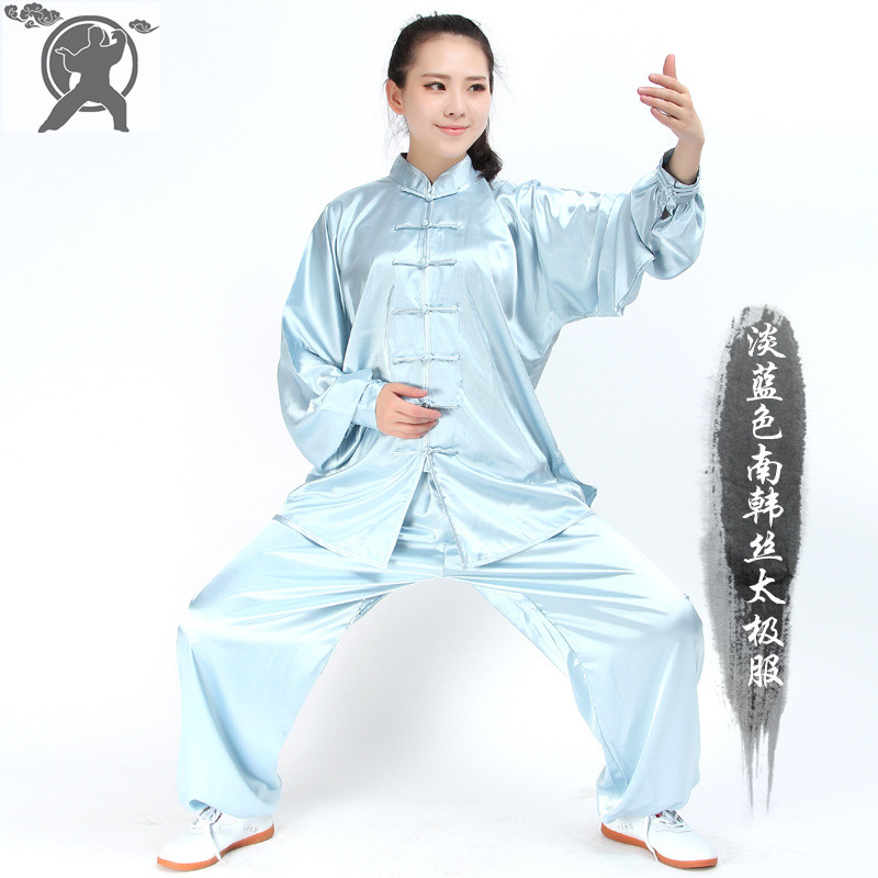 Long Sleeve Traditional Chinese Clothes Silk Suit Kung Fu Tai Chi Uniform Spring Autumn Shirt Pants for Men Women